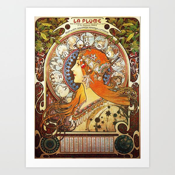 La Plume Zodiac by Alphonse Mucha