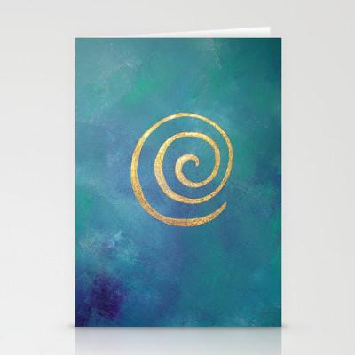 philip bowman bright blue greeting card
