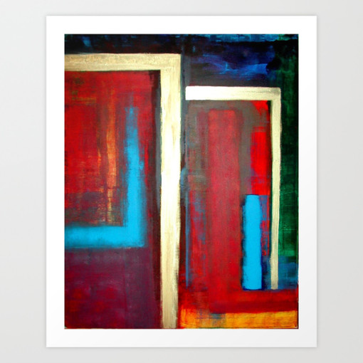 Philip Bowman Blue, Red And Gold Modern Abstract Art Painting