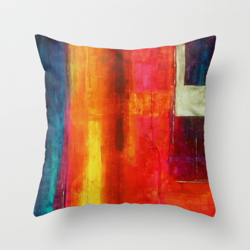 Philip Bowman Color Fields II Modern Abstract Art Painting Throw Pillow