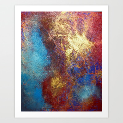 Philip Bowman Red, Blue And Gold Modern Abstract Art Painting