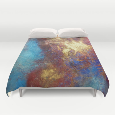 Philip Bowman Red, Blue And Gold Modern Abstract Duvet Cover