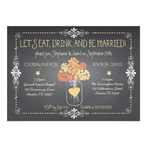Autumn Chalkboard Wedding Invitation Card