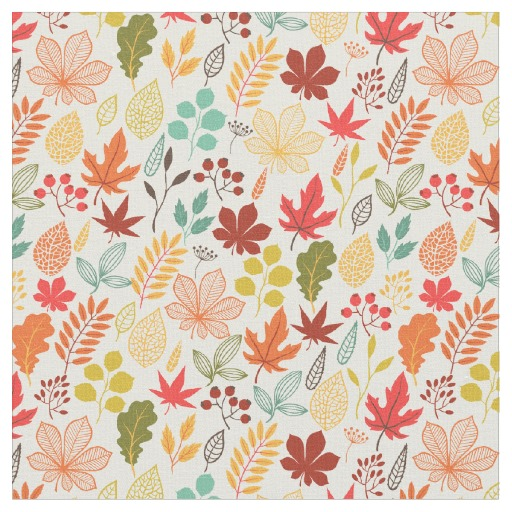 Autumn Fall Berries and Leaves Pattern Fabric