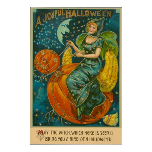 Vintage Halloween Witch Riding Jack O Lantern Bird Poster